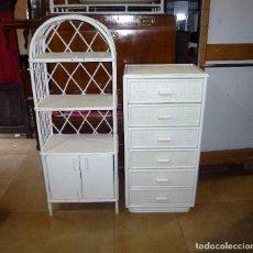 Vintage: SINFONIER Y ESTANTERIA DE MIMBRE.. Lote 205821328
