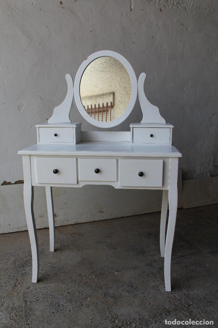 Vintage: tocador con espejo, mesa para maquillaje, con cajones, blanco - Foto 2 - 206954807