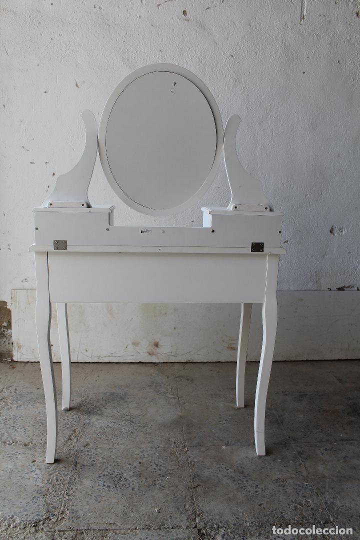 Vintage: tocador con espejo, mesa para maquillaje, con cajones, blanco - Foto 3 - 206954807