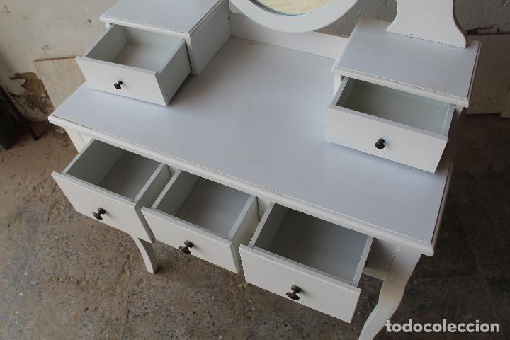 Vintage: tocador con espejo, mesa para maquillaje, con cajones, blanco - Foto 4 - 206954807