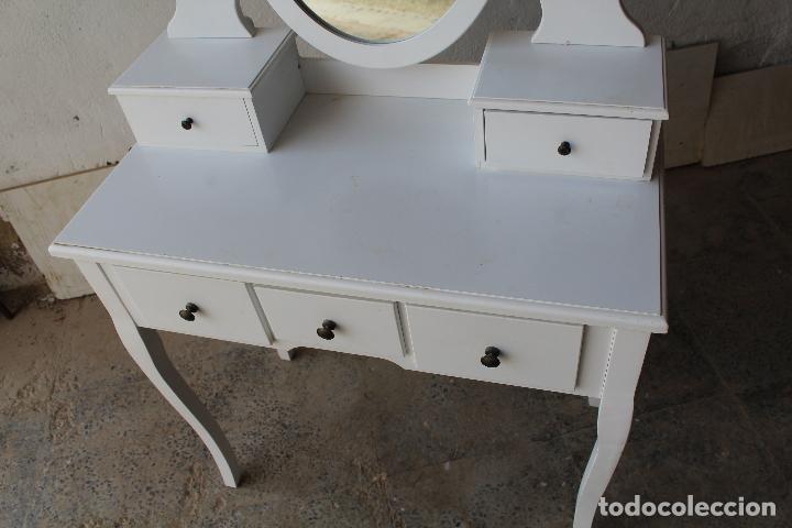 Vintage: tocador con espejo, mesa para maquillaje, con cajones, blanco - Foto 5 - 206954807