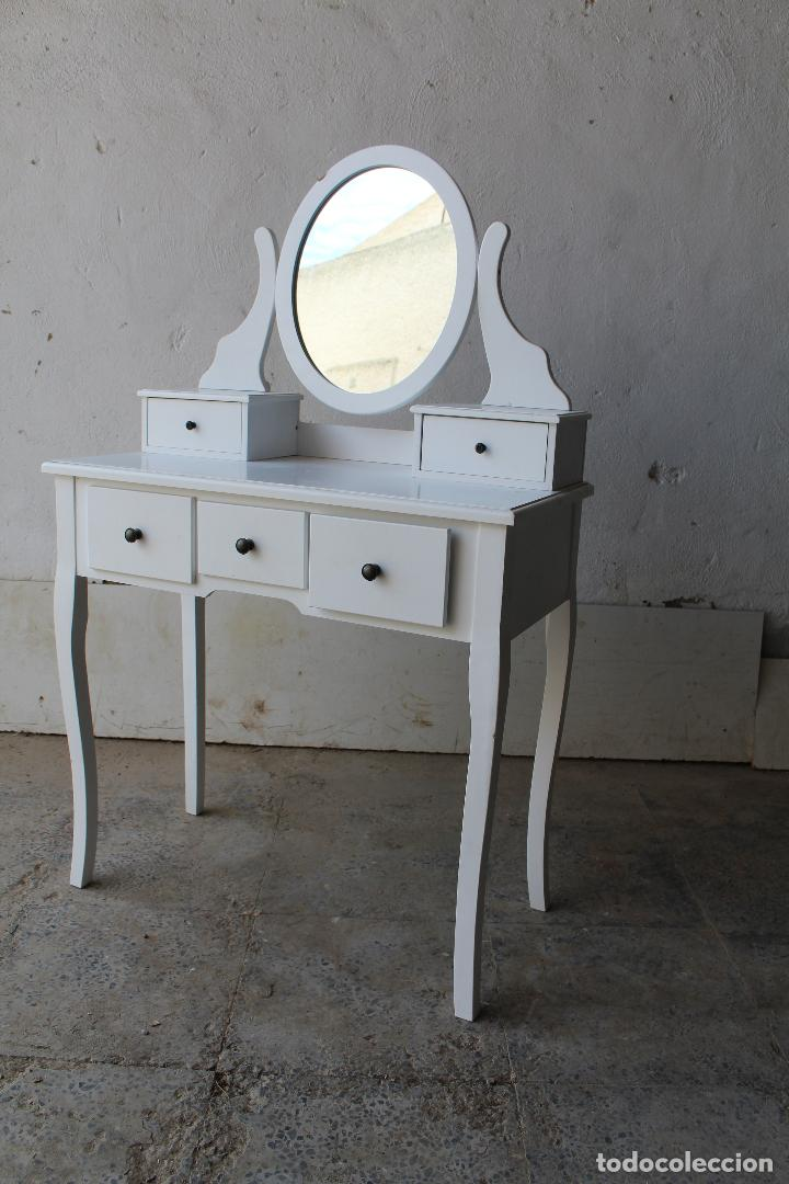 Vintage: tocador con espejo, mesa para maquillaje, con cajones, blanco - Foto 6 - 206954807