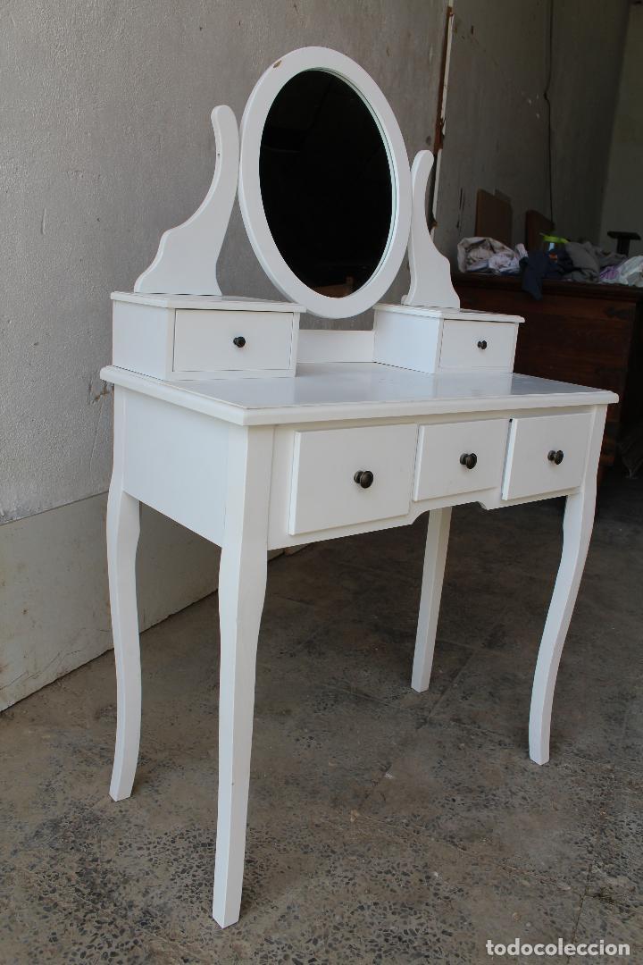 Vintage: tocador con espejo, mesa para maquillaje, con cajones, blanco - Foto 7 - 206954807