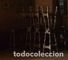TABURETES 8 DE MADERA RUSTICO COLOR NOGAL BAÑADO ,SEGUNDA MANO (Vintage - Muebles)