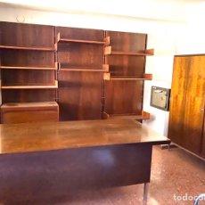 Vintage: MOBILIARIO MADERA OFICINA /DESPACHO COMPLETO. Lote 210559006