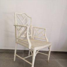 Vintage: SILLÓN CHIPPENDALE REJILLA BAMBÚ LACADO BLANCO. Lote 210609503