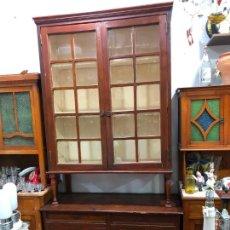 Vintage: ANTIGUO MUEBLE VITRINA ALACENA RUSTICA EN MADERA - MEDIDA TOTAL 242X118X48 CM. Lote 211585474