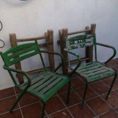 Vintage: PAREJA SILLAS VERDES TERRAZA. Lote 215188816