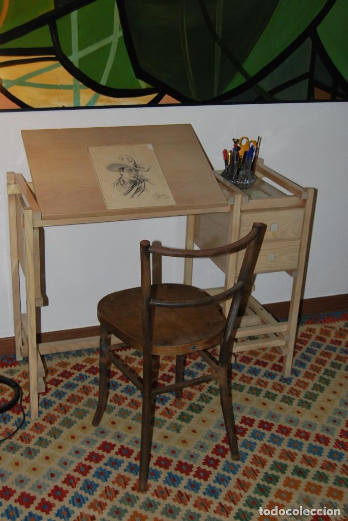 Vintage: ESCRITORIO DE MADERA - MESA DE DIBUJO O DE ARQUITECTO - DISEÑO TIPO GERRIT RIETVELD - SUIZA - C.1980 - Foto 3 - 220356493