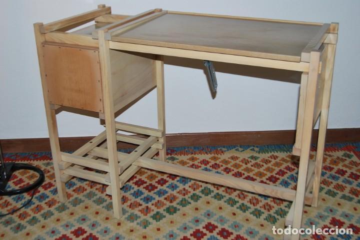 Vintage: ESCRITORIO DE MADERA - MESA DE DIBUJO O DE ARQUITECTO - DISEÑO TIPO GERRIT RIETVELD - SUIZA - C.1980 - Foto 31 - 220356493
