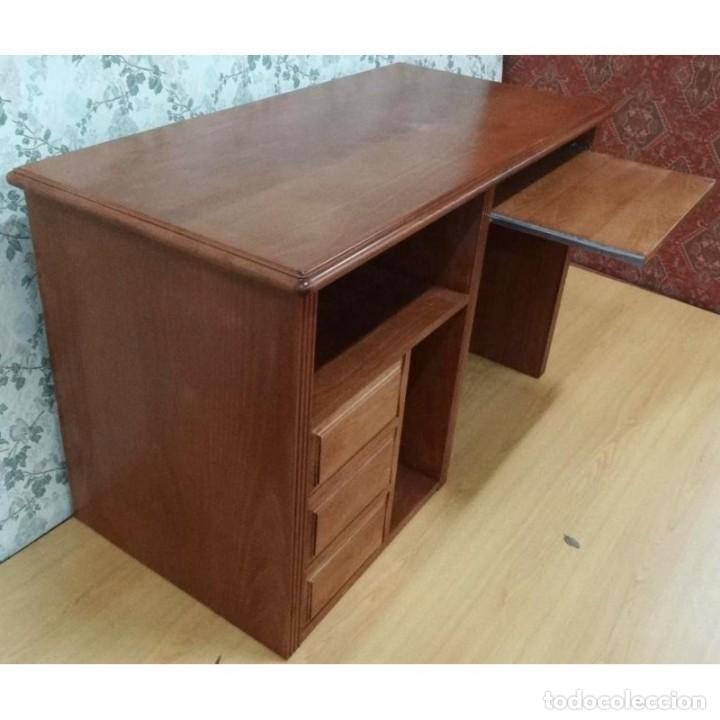 MESA DE ESTUDIO HAYA COLOR CEREZO 3 CAJONES VISTA 2 CARAS 125 X 63 X 79 (Vintage - Muebles)
