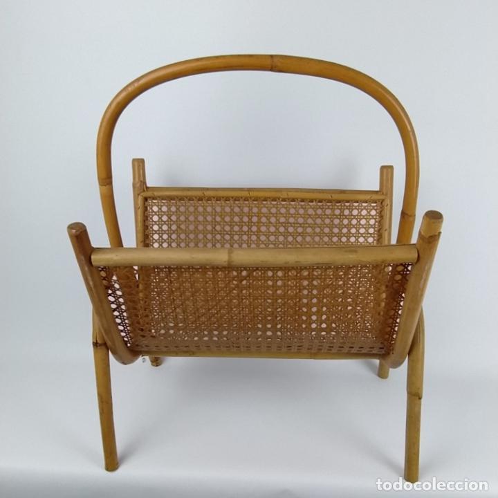 Vintage: Revistero vintage en caña de bambú y rejilla. - Foto 3 - 226134925