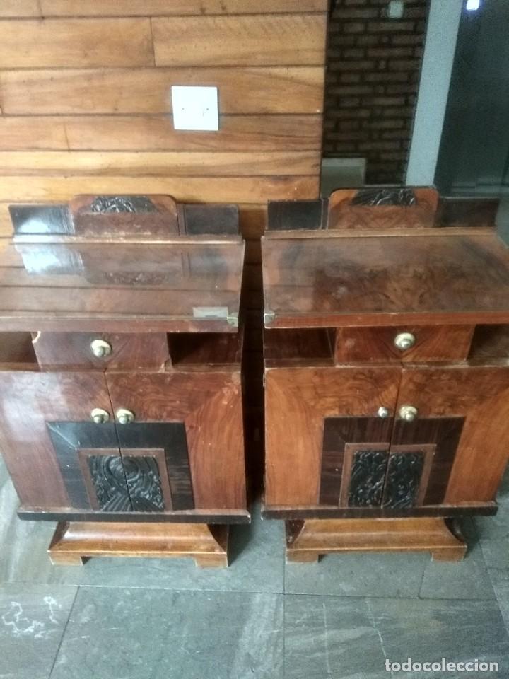 PAREJA DE MESITAS DE NOCHE ART DECO (Vintage - Muebles)