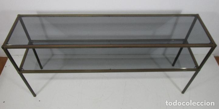 Vintage: Bonita Mesa, Consola - Latón - Cristal Oscurecido - Vintage - Ancho - 150 cm, Fondo - 38 cm - Foto 9 - 228447850