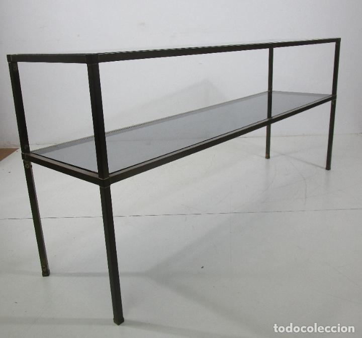 Vintage: Bonita Mesa, Consola - Latón - Cristal Oscurecido - Vintage - Ancho - 150 cm, Fondo - 38 cm - Foto 10 - 228447850