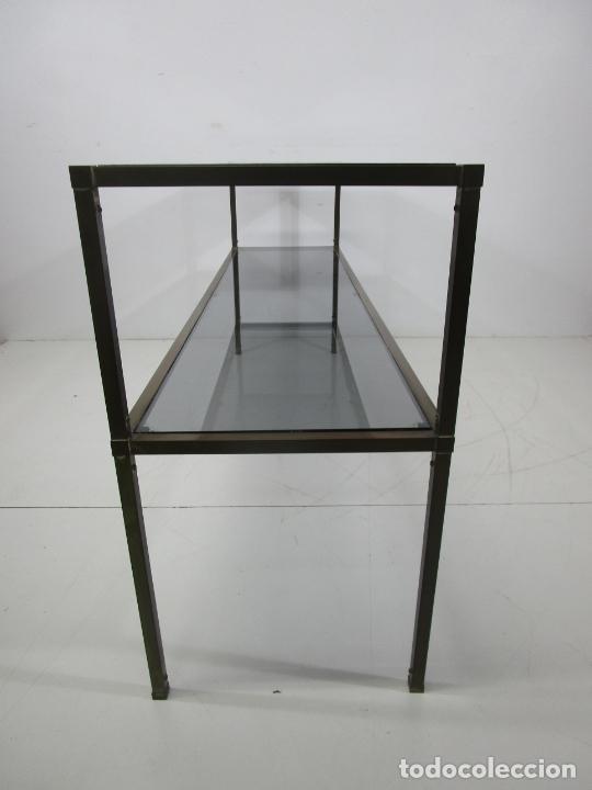Vintage: Bonita Mesa, Consola - Latón - Cristal Oscurecido - Vintage - Ancho - 150 cm, Fondo - 38 cm - Foto 12 - 228447850