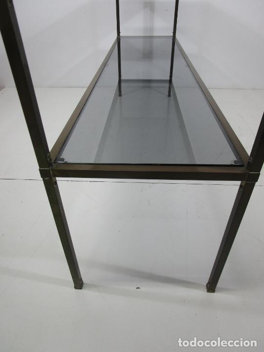 Vintage: Bonita Mesa, Consola - Latón - Cristal Oscurecido - Vintage - Ancho - 150 cm, Fondo - 38 cm - Foto 16 - 228447850