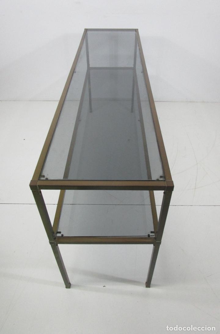 Vintage: Bonita Mesa, Consola - Latón - Cristal Oscurecido - Vintage - Ancho - 150 cm, Fondo - 38 cm - Foto 19 - 228447850