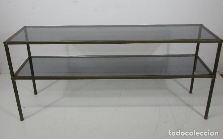 Vintage: Bonita Mesa, Consola - Latón - Cristal Oscurecido - Vintage - Ancho - 150 cm, Fondo - 38 cm - Foto 20 - 228447850