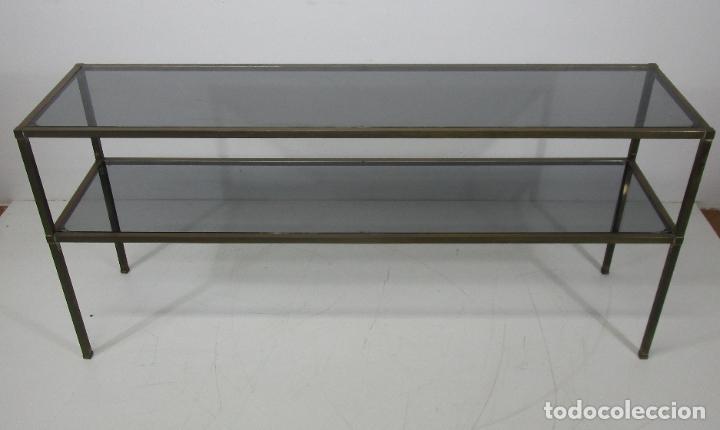 BONITA MESA, CONSOLA - LATÓN - CRISTAL OSCURECIDO - VINTAGE - ANCHO - 150 CM, FONDO - 38 CM (Vintage - Muebles)