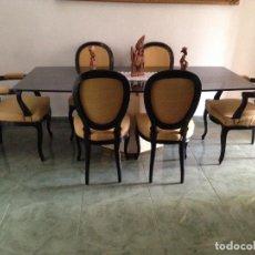 Vintage: EXTRAORDINARIA MESA CON PIE DE TRAVERTINO Y CRISTAL TEMPLADO OSCURO.. Lote 229162860