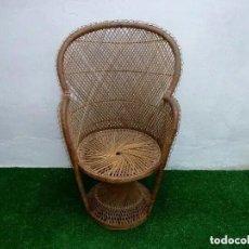 Vintage: SILLÓN DE MIMBRE ESTILO EMMANUELLE. AÑOS 70.106 X 66 CM.. Lote 236184955