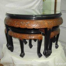Vintage: MESA TALLA NACAR Y TABURETES. Lote 238491775