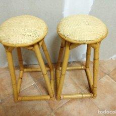 Vintage: PAREJA DE BANQUETAS BAMBÚ Y MIMBRE. Lote 239703755