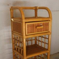 Vintage: MUEBLE AUXILIAR DE MIMBRE / RATTAN. Lote 243528335