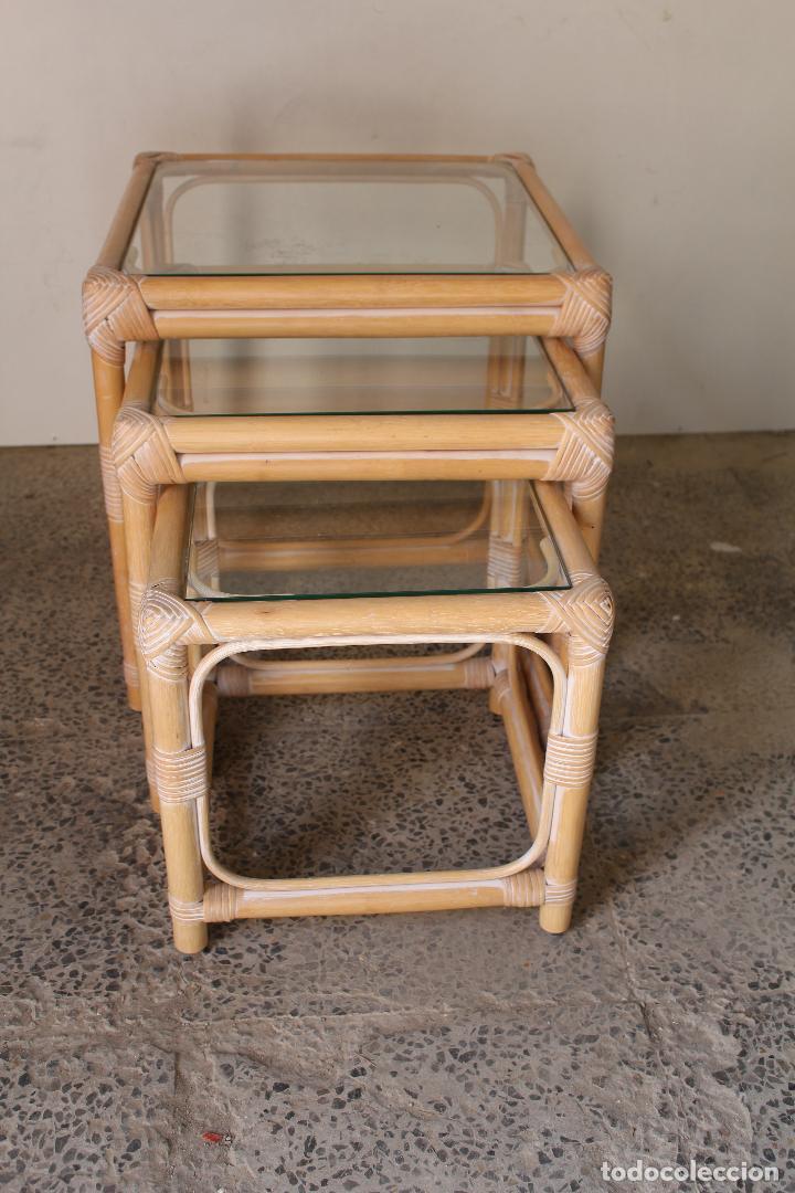 Vintage: set 3 mesas de bambú - Foto 2 - 243945675