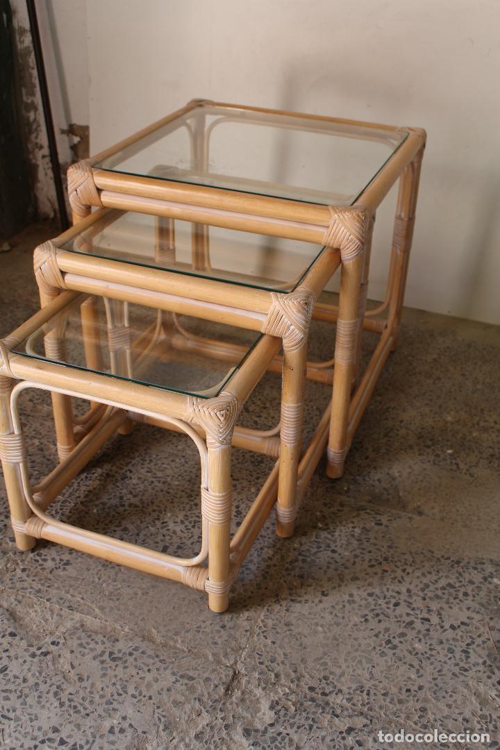 Vintage: set 3 mesas de bambú - Foto 3 - 243945675