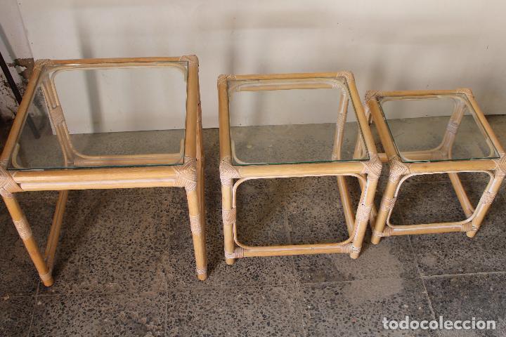 Vintage: set 3 mesas de bambú - Foto 4 - 243945675