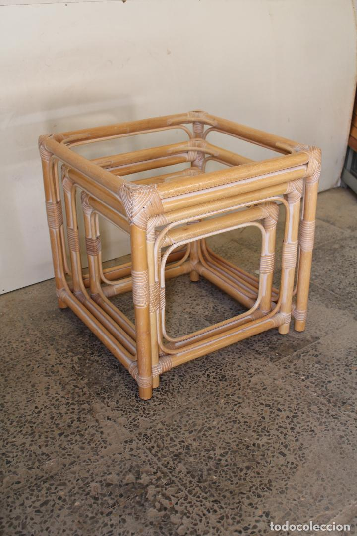 Vintage: set 3 mesas de bambú - Foto 5 - 243945675