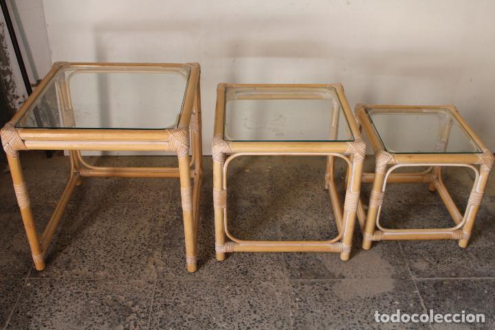Vintage: set 3 mesas de bambú - Foto 6 - 243945675