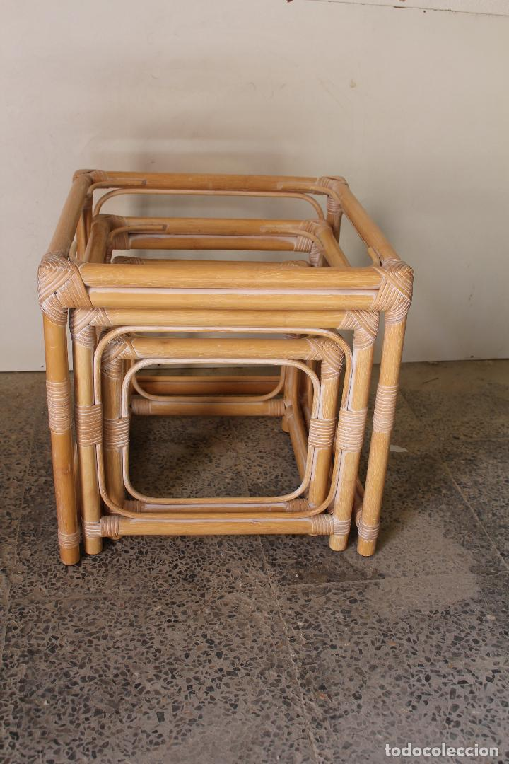 Vintage: set 3 mesas de bambú - Foto 7 - 243945675