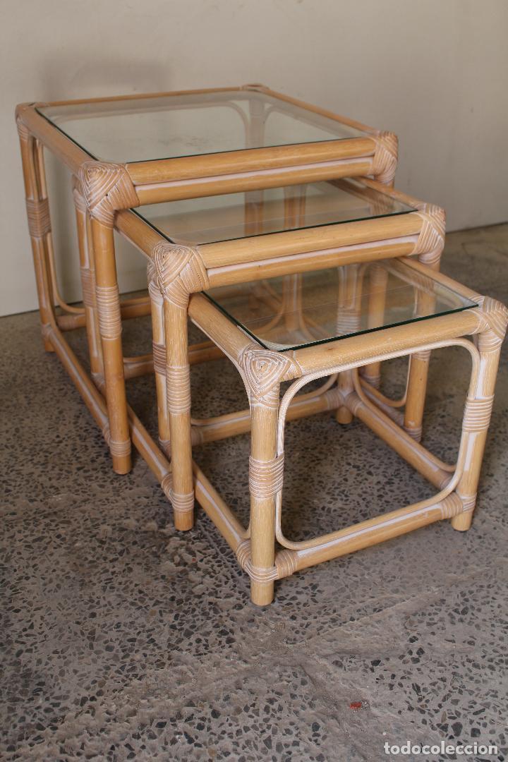 SET 3 MESAS DE BAMBÚ (Vintage - Muebles)