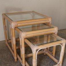Vintage: SET 3 MESAS DE BAMBÚ. Lote 243945675