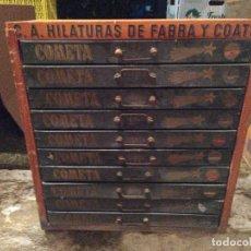 Vintage: MUEBLE HILATURAS CAJONERA FABRA COATS CAJONES HILOS VINTAGE LA COMETA. Lote 244504675