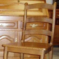 Vintage: CONJUNTO DE 6 SILLAS DE ROBLE MACIZO AL 100%. Lote 244605330