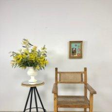 Vintage: BUTACA MADERA Y REJILLA VINTAGE. Lote 244619020