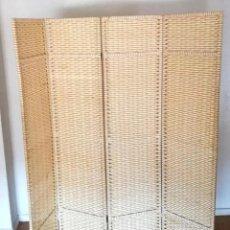 Vintage: GRAN BIOMBO PLEGABLE MADERA TIRAS DE CAÑA 4 HOJAS 170 CM ALTO X 160 CM ANCHO. Lote 247378905