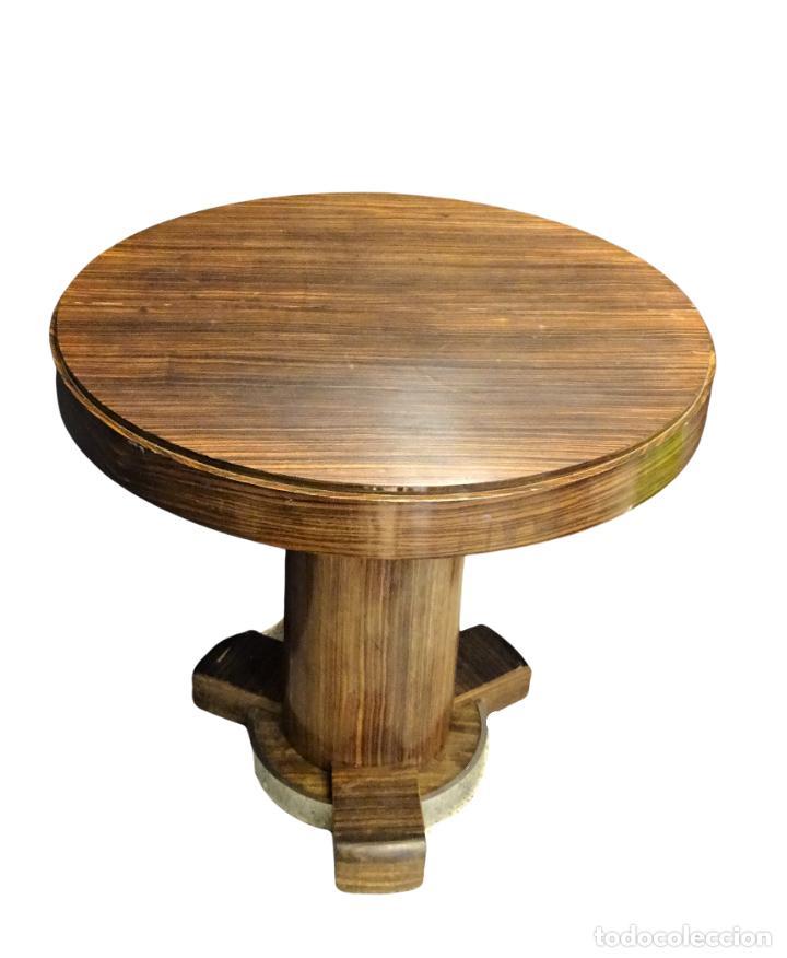 Vintage: Mesa gueridón Art Decó en madera de palosanto, Francia - Foto 2 - 254148115