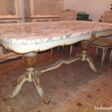 Vintage: MESA DE COMEDOR (6 COMENSALES) CON TABLA DE MÁRMOL. Lote 254280160