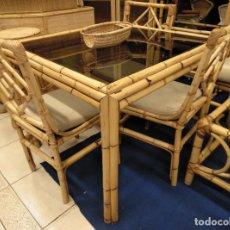 Vintage: MESA EN CAÑA DE BAMBÚ Y CRISTAL AHUMADO.. Lote 261866905