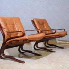 Vintage: PAREJA DE BUTACAS CUERO BY INGMAR RELLING 70'S. Lote 262018410