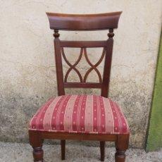 Vintage: JUEGO DE SEIS SILLAS TAPIZADAS EN MADERA DE CEREZO.. Lote 270125913