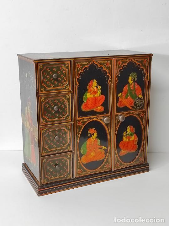 Vintage: Precioso Mueble Oriental - Madera Maciza Policromada - con Puertas y Cajones - Foto 12 - 291907053