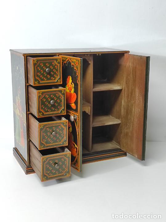 Vintage: Precioso Mueble Oriental - Madera Maciza Policromada - con Puertas y Cajones - Foto 13 - 291907053