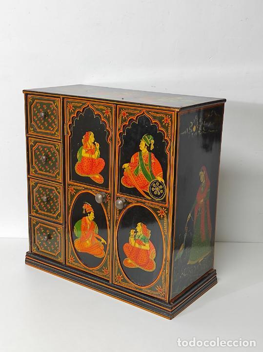 Vintage: Precioso Mueble Oriental - Madera Maciza Policromada - con Puertas y Cajones - Foto 20 - 291907053