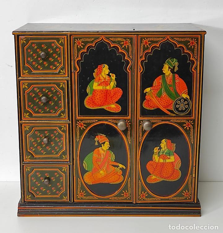 Vintage: Precioso Mueble Oriental - Madera Maciza Policromada - con Puertas y Cajones - Foto 25 - 291907053